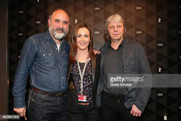 Peter Rommel , Ute Soldierer and Andreas Dresen pose at the Berlinale Open House at the AUDI Lounge during the 65th Berlinale International Film...