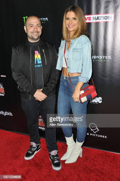 Peter Rosenberg and Maria Menounos attend Monster Energy Outbreak $50K Charity Challenge celebrity basketball game at UCLA on July 17 2018 in Los...