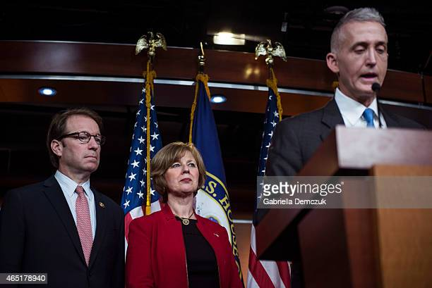 Peter Roskam Susan Brooks and Chairman Trey Gowdy of the House Select Committee on Benghazi speak to reporters at a press conference on the findings...