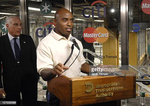 Peter S Kalikow MTA Chaiman and Tiki Barber during Mastercard MTA and Citigroup Trial Fast and Convenient Tap Go Payments In Select NYC Subway...