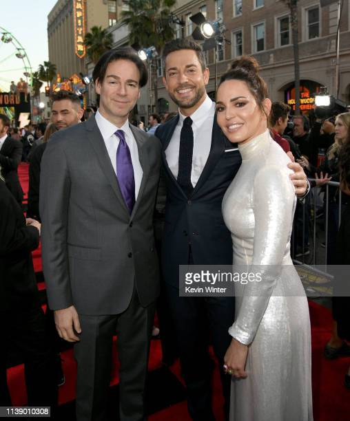 Peter Safran Zachary Levi and Marta Milans arrive at the world premiere of Warner Bros Pictures and New Line Cinema's SHAZAM at TCL Chinese Theatre...