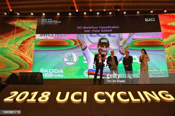 Peter Sagan of Slovakia 2nd UCI World Tour Classification / Prize receiving by Christian Pömer of Austria Sports Director Team Bora Hansgrohe /...