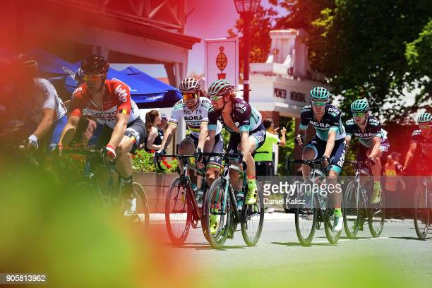 Peter Sagan of Slovakia and BoraHansgrohe and Daniel Oss of Italy and BoraHansgrohe compete past the German Arms in Hahndorf during stage two of the...