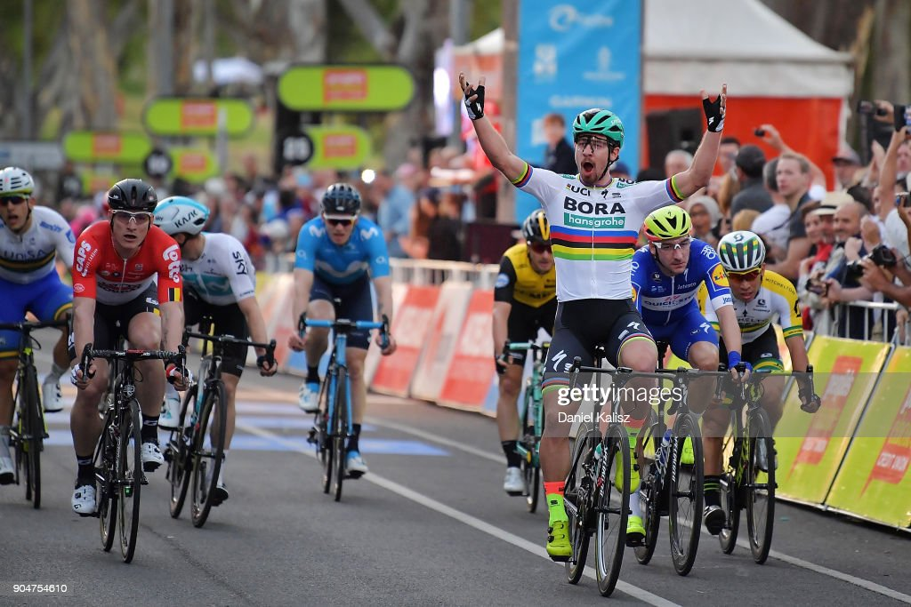 Peter Sagan of Slovakia and Bora-Hansgrohe celebrates after crossing the finish line to win the People's Choice Classic during the 2018 Tour Down Under on January 14, 2018 in Adelaide, Australia.
