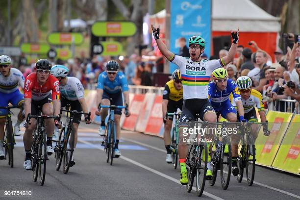 Peter Sagan of Slovakia and BoraHansgrohe celebrates after crossing the finish line to win the People's Choice Classic during the 2018 Tour Down...