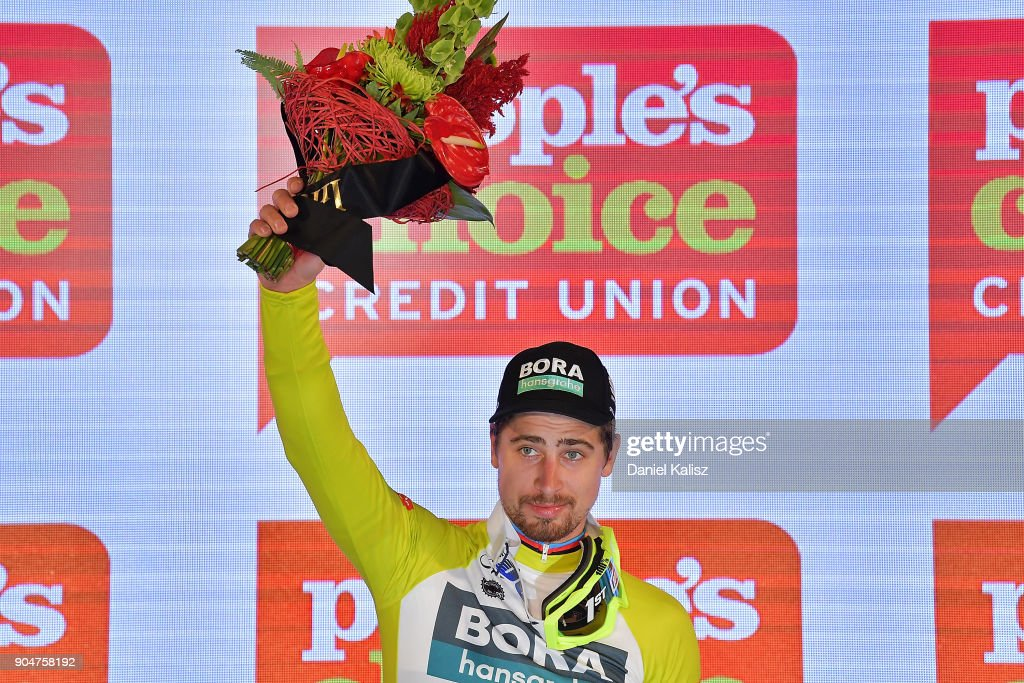 Peter Sagan of Slovakia and Bora-Hansgrohe celebrates on the podium after winning the People's Choice Classic during the 2018 Tour Down Under on January 14, 2018 in Adelaide, Australia.