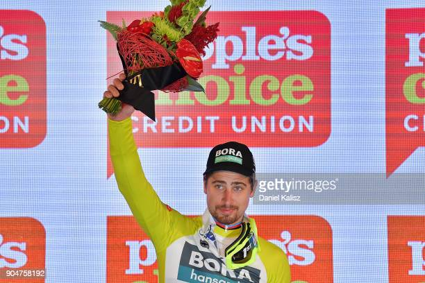 Peter Sagan of Slovakia and BoraHansgrohe celebrates on the podium after winning the People's Choice Classic during the 2018 Tour Down Under on...