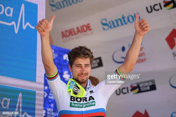 Peter Sagan of Slovakia and BoraHansgrohe celebrates on the podium after winning during stage four of the 2018 Tour Down Under on January 19 2018 in...