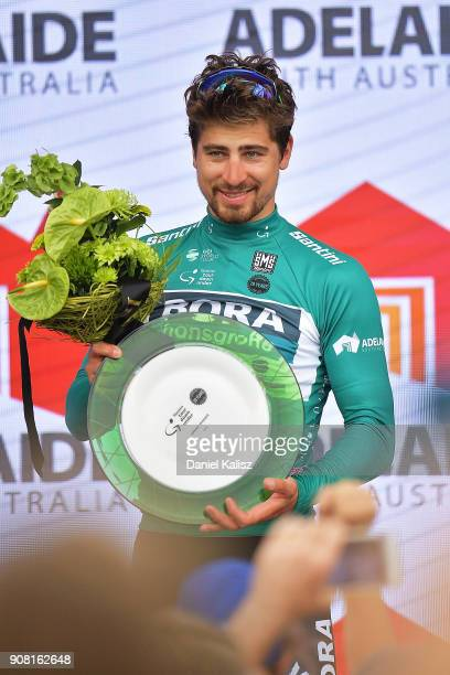 Peter Sagan of Slovakia and BoraHansgrohe celebrates on the podium after claiming the green sprinters jersey after stage six of the 2018 Tour Down...