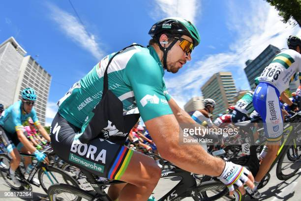 Peter Sagan of Slovakia and BoraHansgrohe competes during stage six of the 2018 Tour Down Under on January 21 2018 in Adelaide Australia