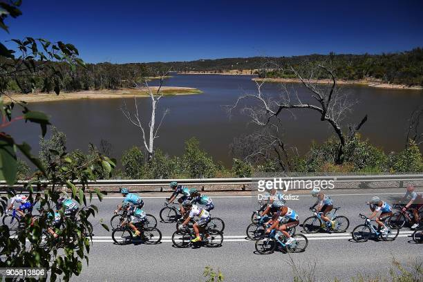 Peter Sagan of Slovakia and BoraHansgrohe competes past Myponga reservoir during stage two of the 2018 Tour Down Under on January 17 2018 in Adelaide...