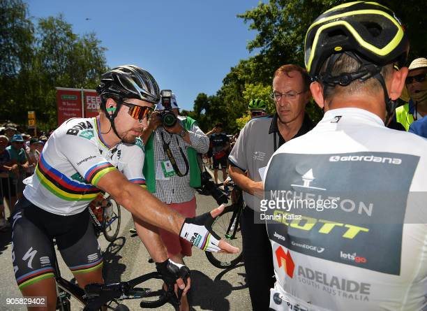Peter Sagan of Slovakia and BoraHansgrohe congratulates Caleb Ewan of Australia and MitcheltonScott after stage two of the 2018 Tour Down Under on...
