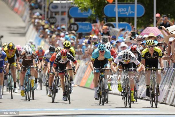 Peter Sagan of Slovakia and BoraHansgrohe sprints during stage four of the 2018 Tour Down Under on January 19 2018 in Adelaide Australia