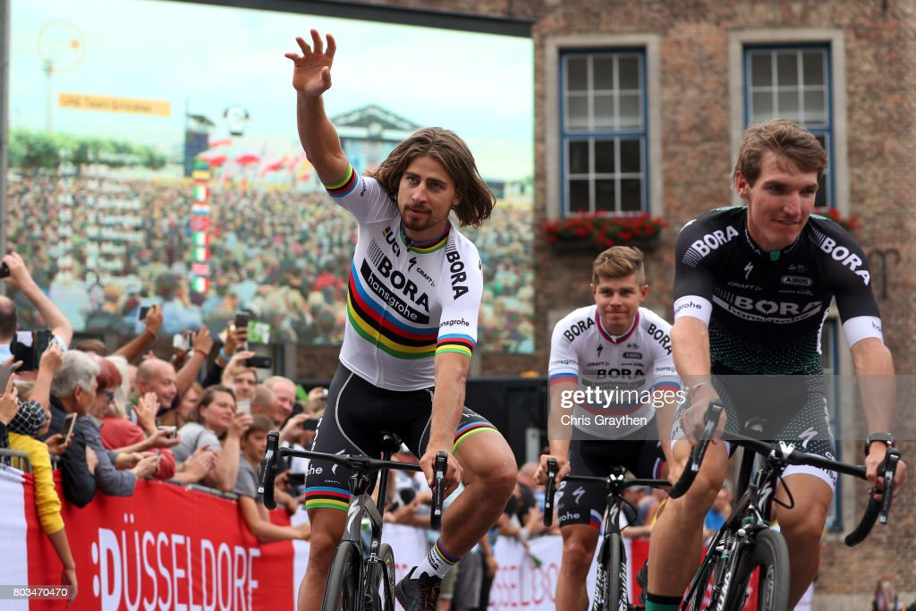 Peter Sagan of Slovakia and Bora-Hansgrohe waves during the team presentation for the 2017 Le Tour de France on June 29, 2017 in Duesseldorf, Germany.