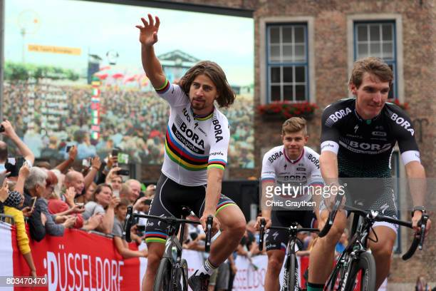 Peter Sagan of Slovakia and BoraHansgrohe waves during the team presentation for the 2017 Le Tour de France on June 29 2017 in Duesseldorf Germany