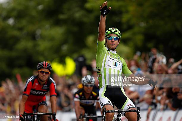 Peter Sagan of Slovakia and Cannondale Pro Cycling celebrates after winning stage six of the USA Pro Challenge on August 24 2013 in Fort Collins...