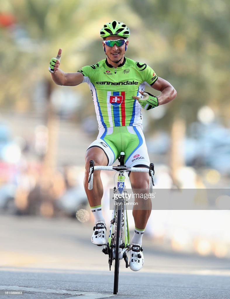 Peter Sagan of Slovakia and Cannondale Pro Cycling Team celebrates winning stage two of the 2013 Tour of Oman from Fanja in Bidbid to Al Bustan on February 12, 2013 in Al Bustan, Oman.