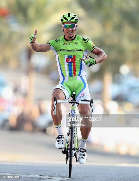 Peter Sagan of Slovakia and Cannondale Pro Cycling Team celebrates winning stage two of the 2013 Tour of Oman from Fanja in Bidbid to Al Bustan on...