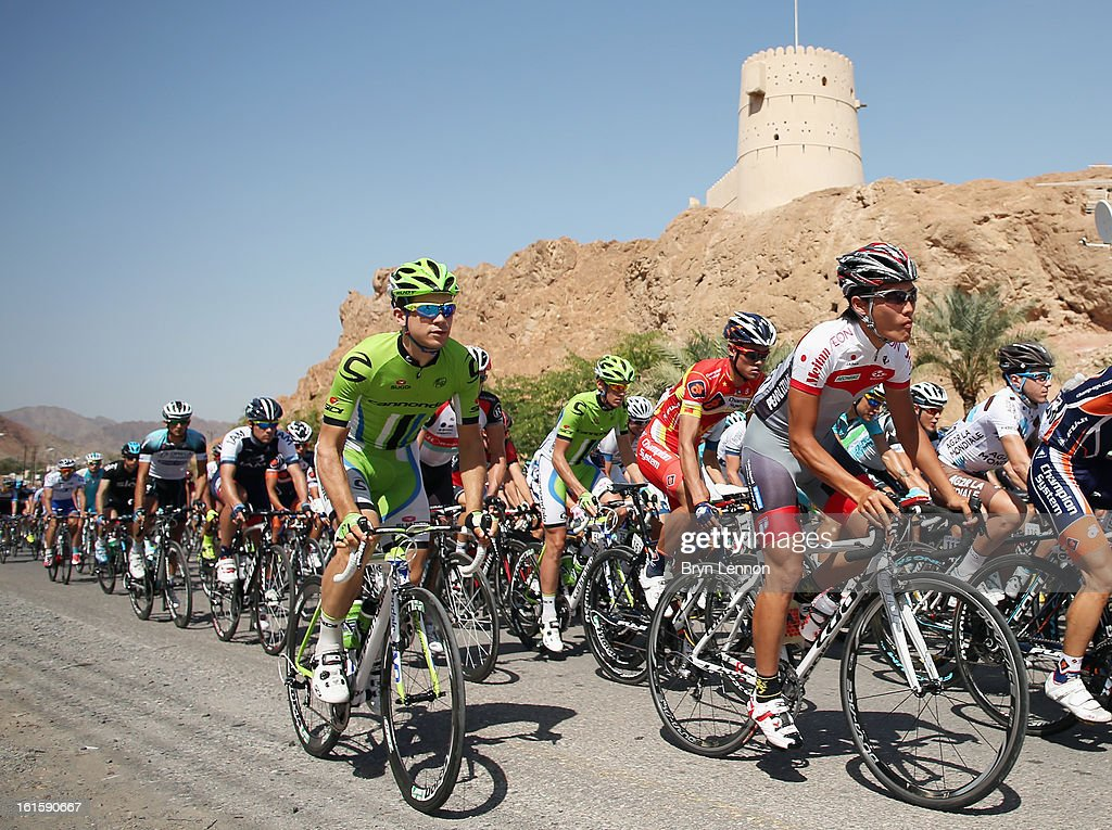 Peter Sagan of Slovakia and Cannondale rides in the peloton at the start of two of the 2013 Tour of Oman from Fanja in Bidbid to Al Bustan on February 12, 2013 in Fanja in Bidbid, Oman.