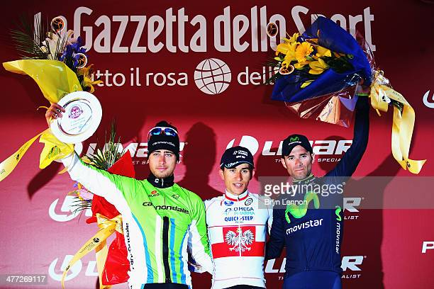 Peter Sagan of Slovakia and Canondale Michal Kwiatkowski of Poland and Omega PharmaQuickStep and Alejandro Valverde Belmonte of Spain and stand on...