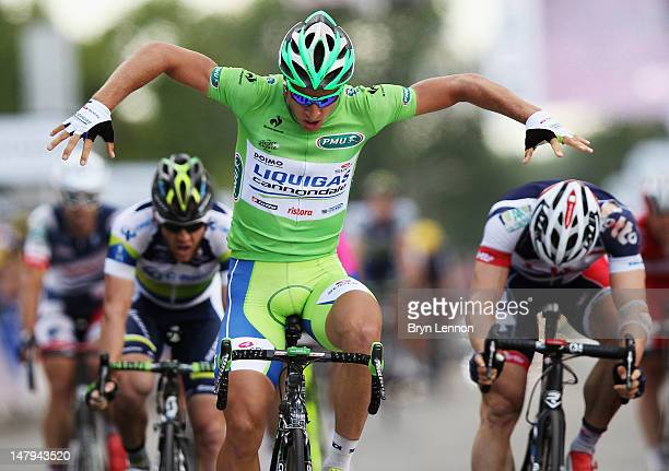 Peter Sagan of Slovakia and Liquigas-Cannondale celebrates as he crosses the finish line to win stage six of the 2012 Tour de France from Epernay to...