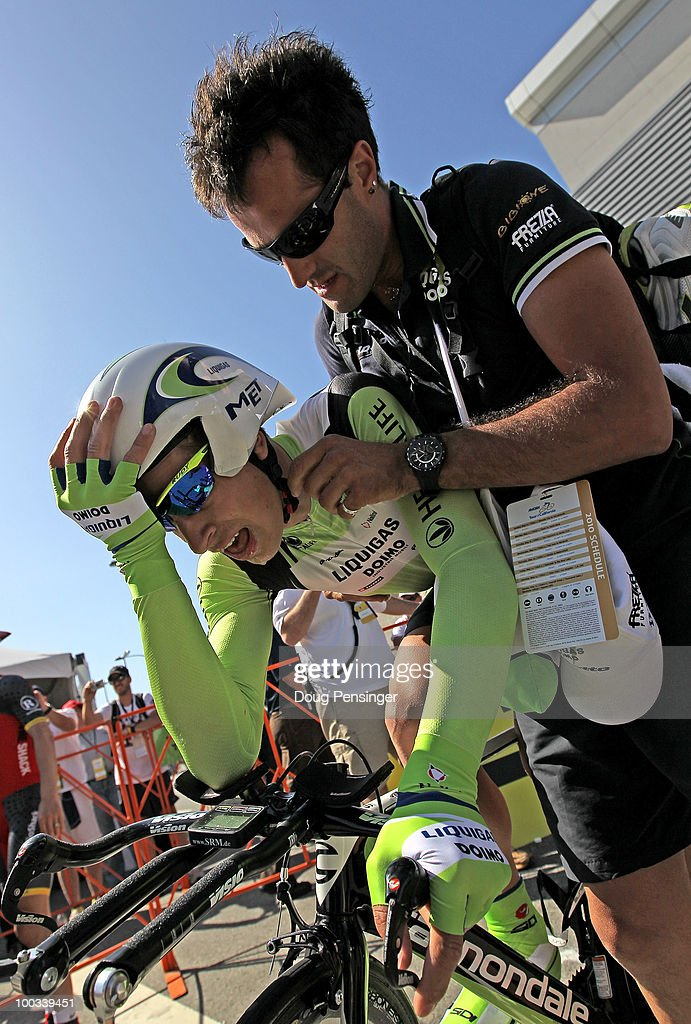 Peter Sagan of Slovakia and riding for Liquigas-Diomo is attended to by his soigneur after finishing the individual tiime trial during Stage Seven of the 2010 Tour of California on May 22, 2010 in Los Angeles, California. Sagan successfully defended the best young rider's jersey during the stage.
