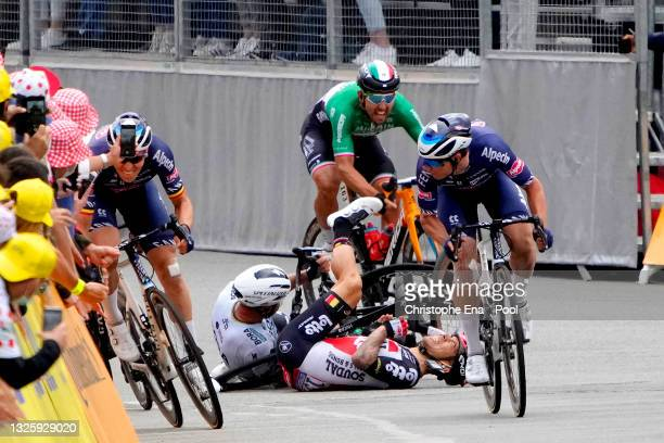 Peter Sagan of Slovakia and Team BORA - Hansgrohe & Caleb Ewan of Australia and Team Lotto Soudal involved in a crash at arrival, Tim Merlier of...