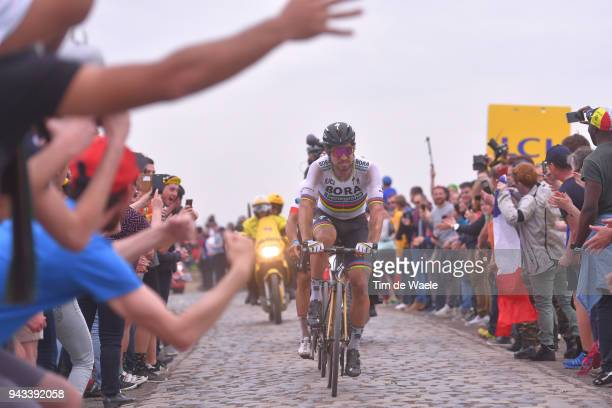 Peter Sagan of Slovakia and Team Bora - Hansgrohe / Carrefour de l'Arbre during the 116th Paris - Roubaix 2018 a 257km race from Compiegne to Roubaix...