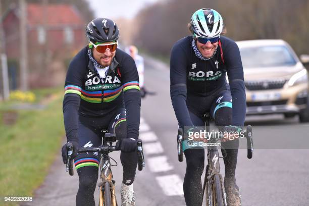 Peter Sagan of Slovakia and Team Bora - Hansgrohe, Daniel Oss of Italy and Team Bora - Hansgrohe during training of 116th Paris to Roubaix 2018 on...
