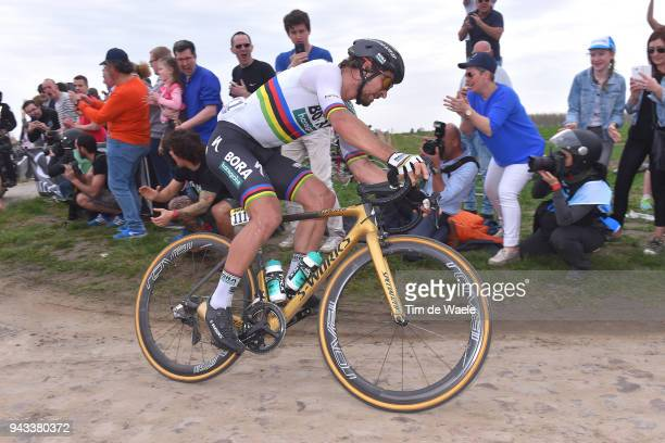 Peter Sagan of Slovakia and Team Bora Hansgrohe / during the 116th Paris Roubaix 2018 a 257km race from Compiegne to Roubaix on April 8 2018 in...