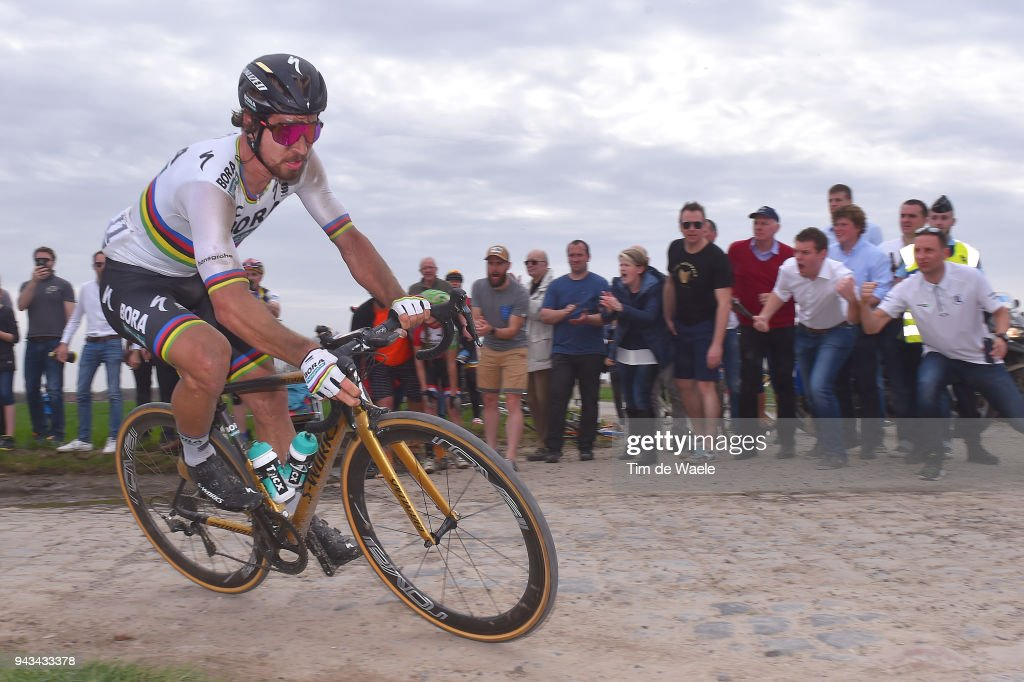 Peter Sagan of Slovakia and Team Bora - Hansgrohe / during the 116th Paris to Roubaix 2018 a 257km race from Compiegne to Roubaix on April 8, 2018 in Roubaix, France.