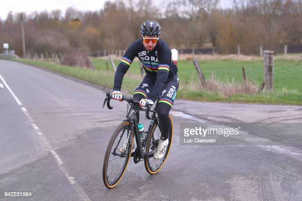 Peter Sagan of Slovakia and Team Bora Hansgrohe during training of 116th Paris to Roubaix 2018 on April 5 2018 in Arenberg France