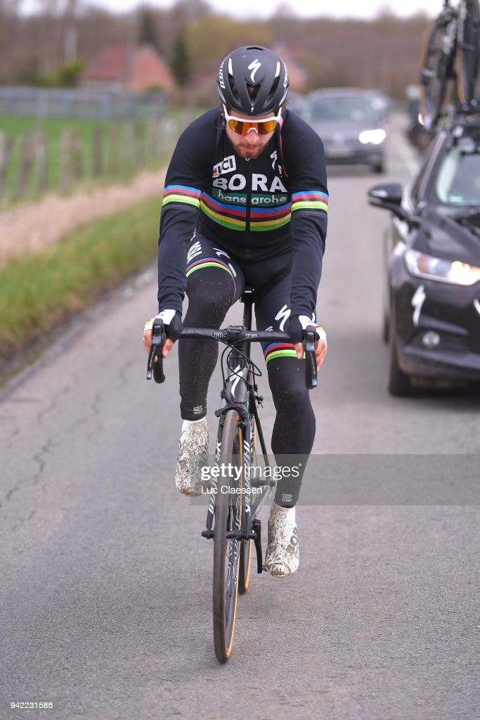Peter Sagan of Slovakia and Team Bora - Hansgrohe during training of 116th Paris to Roubaix 2018 on April 5, 2018 in Arenberg, France.