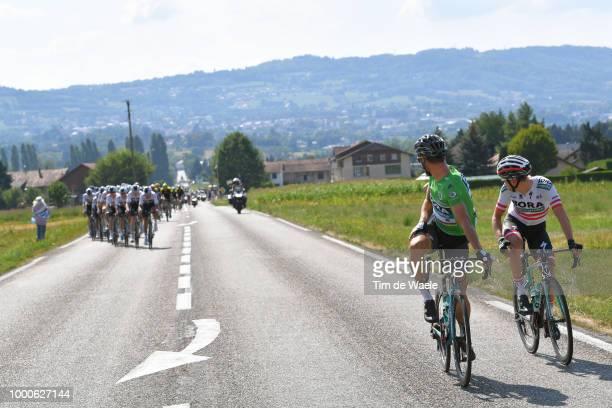 Peter Sagan of Slovakia and Team Bora Hansgrohe Green Sprint Jersey / Lukas Postlberger of Austria and Team Bora Hansgrohe / Peloton / during the...