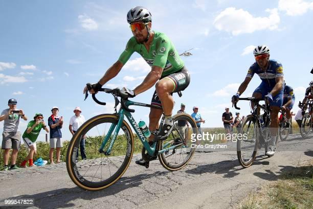 Peter Sagan of Slovakia and Team Bora Hansgrohe Green Sprint Jersey / Philippe Gilbert of Belgium and Team QuickStep Floors / Willems À Hem Cobbles...