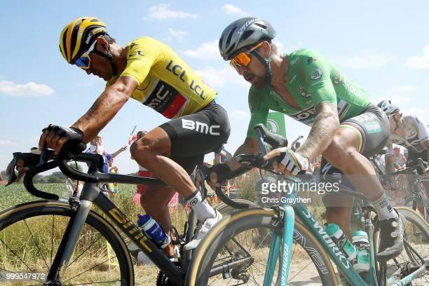 Peter Sagan of Slovakia and Team Bora Hansgrohe Green Sprint Jersey / Greg Van Avermaet of Belgium and BMC Racing Team Yellow Leader Jersey /...