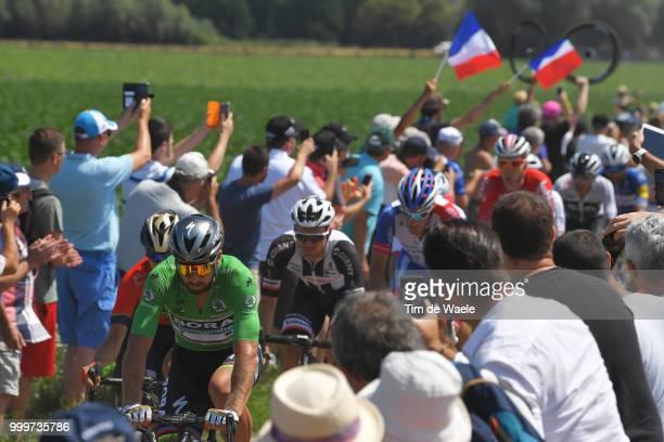 Peter Sagan of Slovakia and Team Bora Hansgrohe Green Sprint Jersey / Peloton / Auberchicourt Cobblestones / Public / Fans / Landscape / during the...