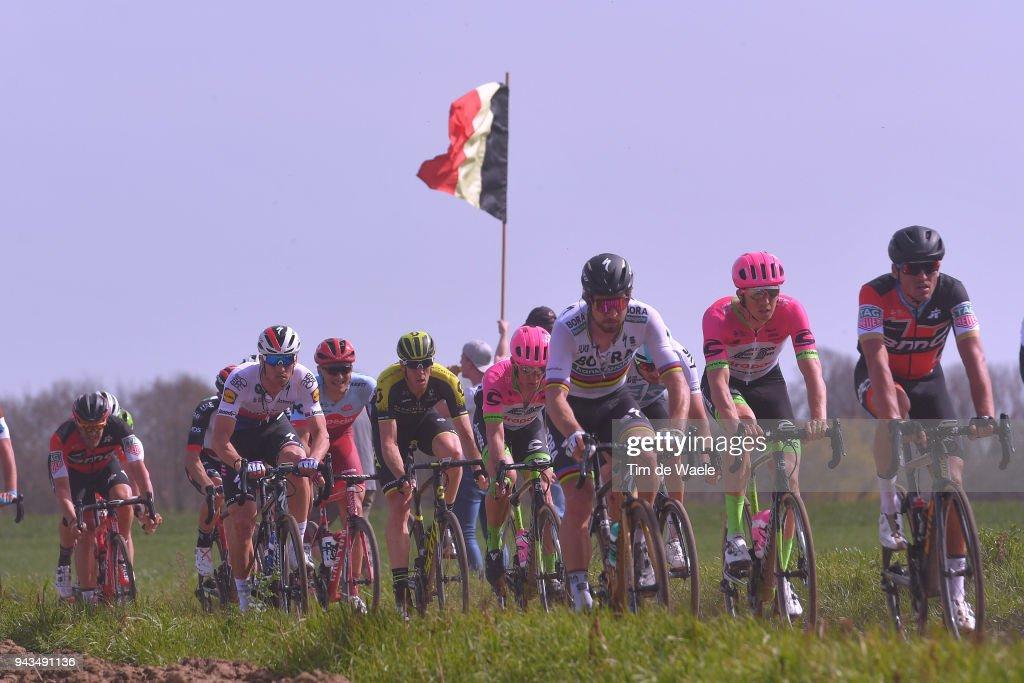 Peter Sagan of Slovakia and Team Bora - Hansgrohe / Greg Van Avermaet of Belgium and BMC Racing Team / Zdenek Stybar of Czech Republic and Team Quick-Step Floors / Mathew Hayman of Australia and Team Mitchelton-Scott / Sep Vanmarcke of Belgium and Team EF Education First - Drapac P/B Cannondale / Querenaing / during the 116th Paris - Roubaix 2018 a 257km race from Compiegne to Roubaix on April 8, 2018 in Roubaix, France.
