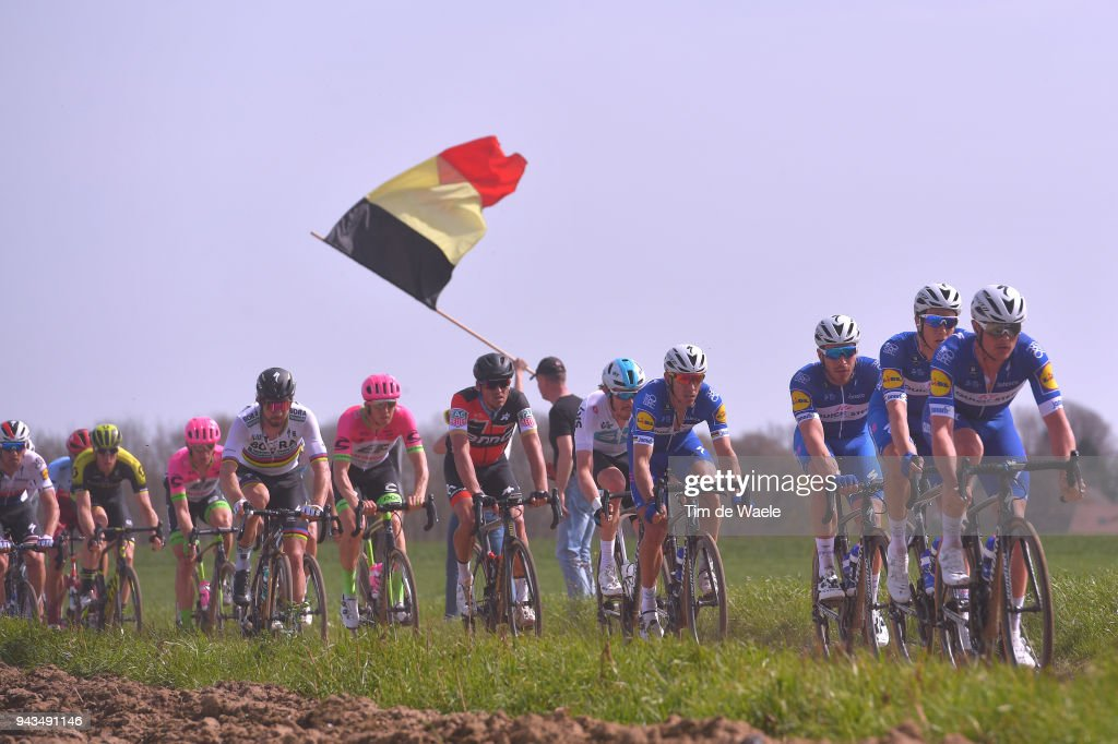 Peter Sagan of Slovakia and Team Bora - Hansgrohe / Greg Van Avermaet of Belgium and BMC Racing Team / Zdenek Stybar of Czech Republic and Team Quick-Step Floors / Sep Vanmarcke of Belgium and Team EF Education First - Drapac P/B Cannondale / Philippe Gilbert of Belgium and Team Quick-Step Floors / Owain Doull of Great Britain and Team Sky / Niki Terpstra of The Netherlands and Team Quick-Step Floors / Querenaing / during the 116th Paris - Roubaix 2018 a 257km race from Compiegne to Roubaix on April 8, 2018 in Roubaix, France.