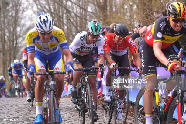 Peter Sagan of Slovakia and Team Bora Hansgrohe / Jens Debusschere of Belgium and Team Lotto Soudal / during the 80th Gent-Wevelgem In Flanders...
