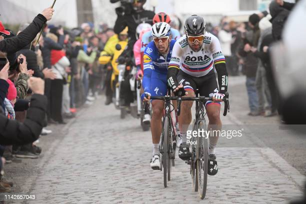 Peter Sagan of Slovakia and Team BORA - hansgrohe / Philippe Gilbert of Belgium and Team Deceuninck-QuickStep / Sector 4 - Carrefour de l'Arbre /...