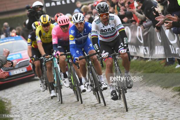 Peter Sagan of Slovakia and Team BORA - hansgrohe / Philippe Gilbert of Belgium and Team Deceuninck-QuickStep / Sep Vanmarcke of Belgium and Team EF...