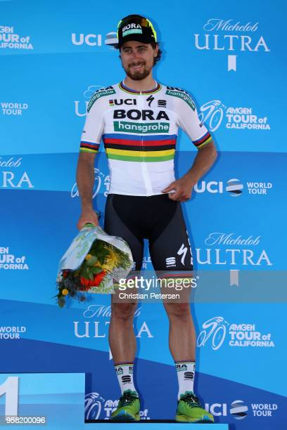 Peter Sagan of Slovakia and Team Bora - Hansgrohe poses on-stage after finishing third in stage one of the 13th Amgen Tour of California 2018 a...