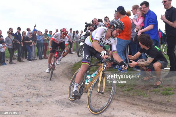 Peter Sagan of Slovakia and Team Bora Hansgrohe / Silvan Dillier of Switzerland and Team AG2R La Mondiale / during the 116th Paris Roubaix 2018 a...