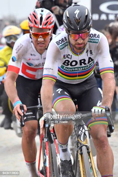 Peter Sagan of Slovakia and Team Bora Hansgrohe / Silvan Dillier of Switzerland and Team AG2R La Mondiale / during the 116th Paris to Roubaix 2018 a...