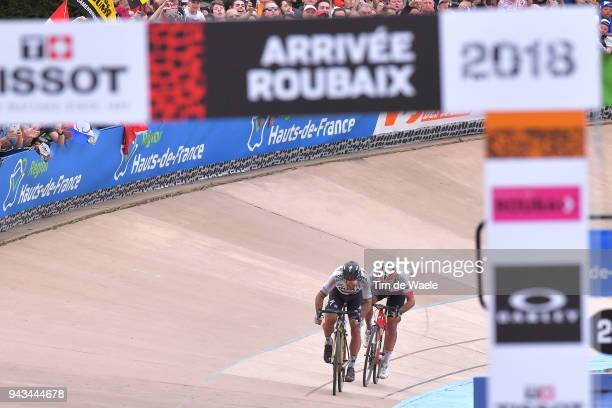 Peter Sagan of Slovakia and Team Bora Hansgrohe / Silvan Dillier of Switzerland and Team AG2R La Mondiale / Sprint / during the 116th Paris to...