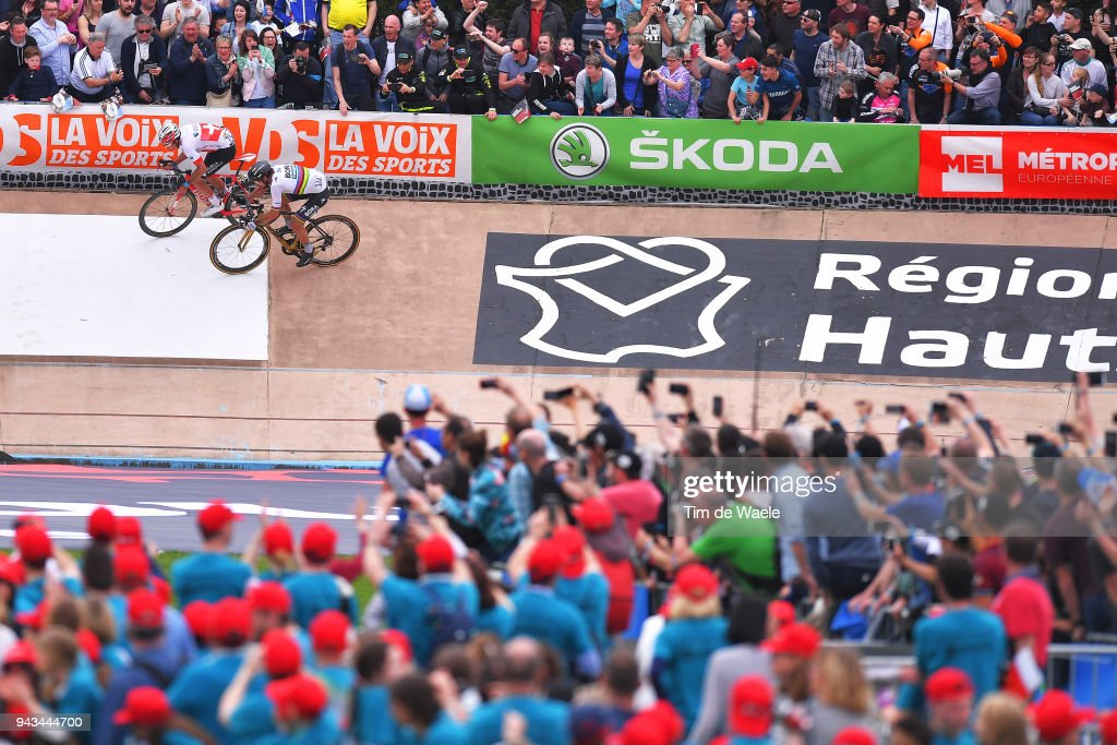 Peter Sagan of Slovakia and Team Bora - Hansgrohe / Silvan Dillier of Switzerland and Team AG2R La Mondiale / Sprint / during the 116th Paris to Roubaix 2018 a 257km race from Compiegne to Roubaix on April 8, 2018 in Roubaix, France.