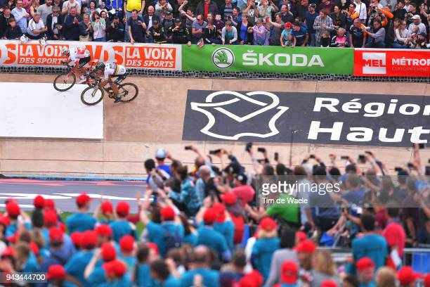 Peter Sagan of Slovakia and Team Bora - Hansgrohe / Silvan Dillier of Switzerland and Team AG2R La Mondiale / Sprint / during the 116th Paris to...