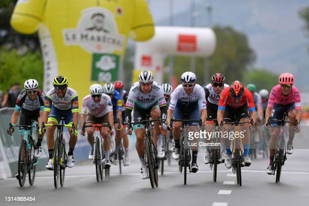 Peter Sagan of Slovakia and Team Bora - Hansgrohe, Sonny Colbrelli of Italy and Team Bahrain Victorious, Patrick Bevin of New Zealand and Team Israel...