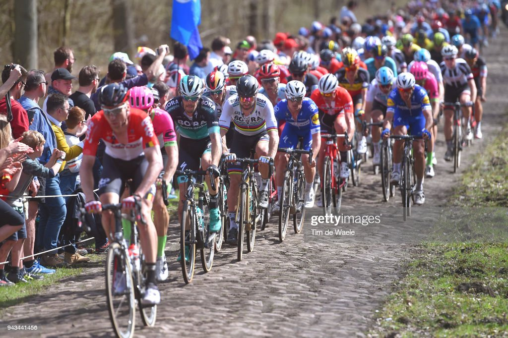Peter Sagan of Slovakia and Team Bora - Hansgrohe / Trouee d Arenberg / Cobbles / Peloton / Landscape / during the 116th Paris to Roubaix 2018 a 257km race from Compiegne to Roubaix on April 8, 2018 in Roubaix, France.